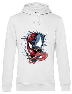 Hoodie barbat cu gluga Venom vs Spiderman Alb