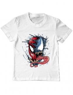 Tricou ADLER copil Venom vs Spiderman Alb