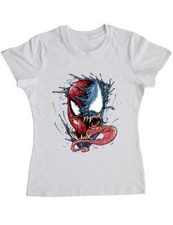 Tricou ADLER dama Venom vs Spiderman Alb