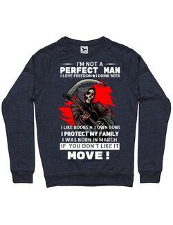 Bluza ADLER barbat I am not a perfect man Denim inchis