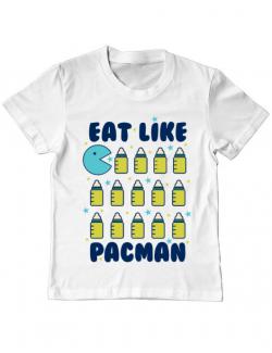 Tricou ADLER copil Eat Like Pacman Alb