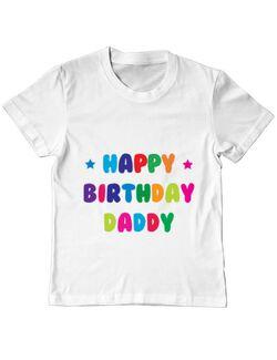 Tricou ADLER copil Happy Birthday Daddy Alb