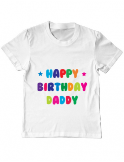 Tricou ADLER copil Happy Birthday Daddy Alb
