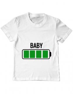 Tricou ADLER copil Baby battery Alb