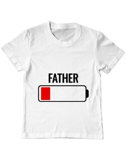 Tricou ADLER copil Father battery Alb