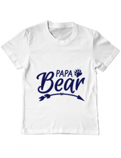Tricou ADLER copil Papa bear Alb