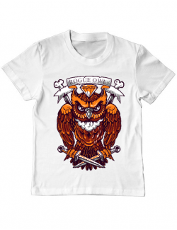 Tricou ADLER copil Rogue owl Alb
