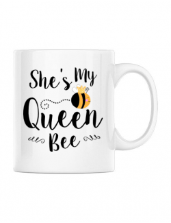 Cana personalizata She is my queen bee Alb