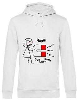 Hoodie barbat cu gluga Our love story 1 Alb