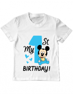 Tricou ADLER copil My first birthday Alb