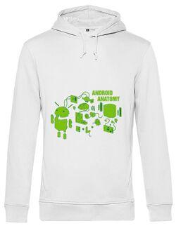 Hoodie barbat cu gluga Android anatomy Alb