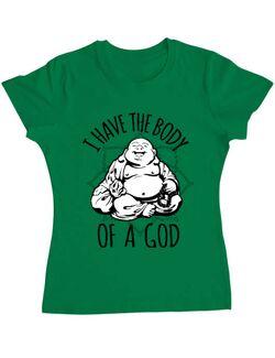 Tricou ADLER dama Body of a god Verde mediu