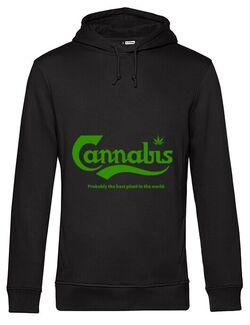 Hoodie barbat cu gluga Cannabis Negru