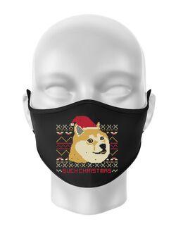 Masca personalizata reutilizabila Doge christmas Negru