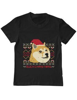 Tricou ADLER copil Doge christmas Negru