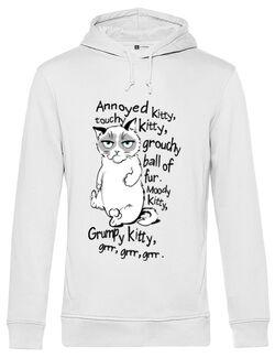 Hoodie barbat cu gluga Grumpy kitty Alb