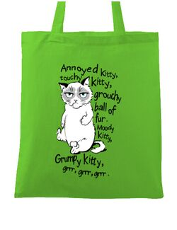 Sacosa din panza Grumpy kitty Verde mar