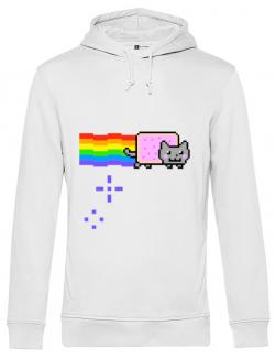 Hoodie barbat cu gluga Nyan cat Alb