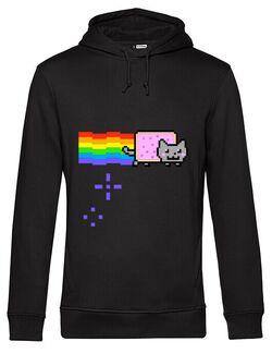 Hoodie barbat cu gluga Nyan cat Negru