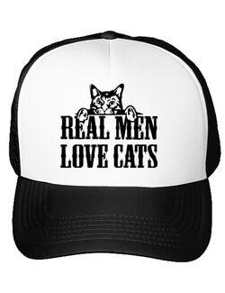 Sapca personalizata Real men love cats Alb