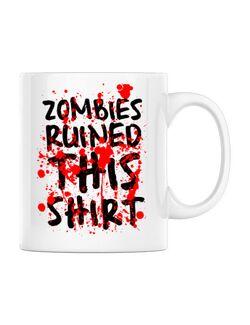 Cana personalizata Zombies Alb