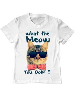 Tricou ADLER copil What the meow Alb