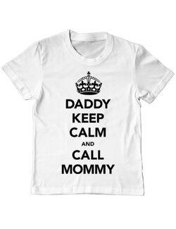 Tricou ADLER copil Daddy keep calm Alb