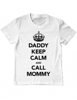 Tricou ADLER copil Daddy keep calm Alb