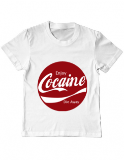 Tricou ADLER copil Enjoy cocaine Alb