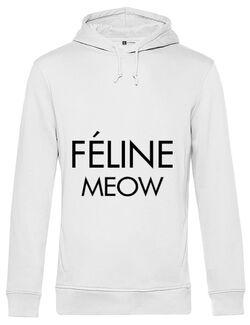Hoodie barbat cu gluga Feline meow Alb