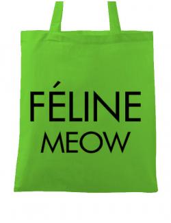 Sacosa din panza Feline meow Verde mar