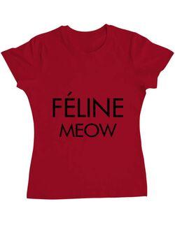 Tricou ADLER dama Feline meow Rosu
