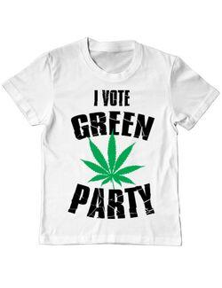 Tricou ADLER copil Green party Alb