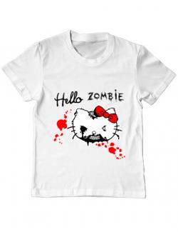 Tricou ADLER copil Hello zombie Alb