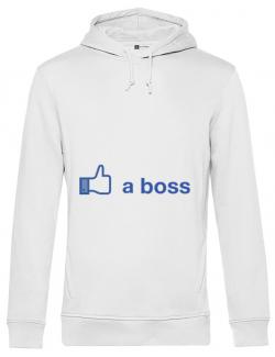 Hoodie barbat cu gluga Like a boss Facebook Alb