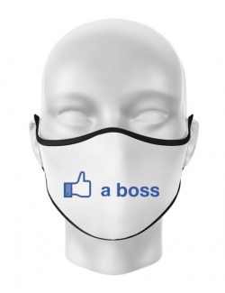 Masca personalizata reutilizabila Like a boss Facebook Alb