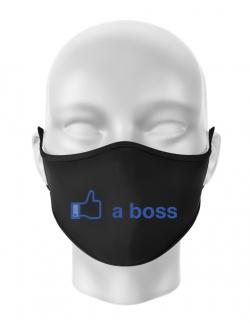 Masca personalizata reutilizabila Like a boss Facebook Negru