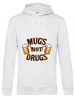 Hoodie barbat cu gluga Mugs not drugs Alb