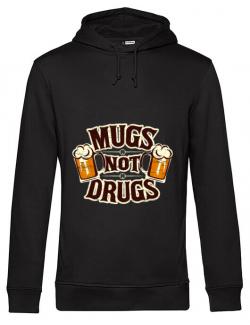 Hoodie barbat cu gluga Mugs not drugs Negru