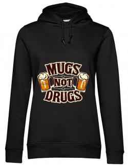 Hoodie dama cu gluga Mugs not drugs Negru