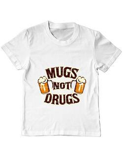Tricou ADLER copil Mugs not drugs Alb