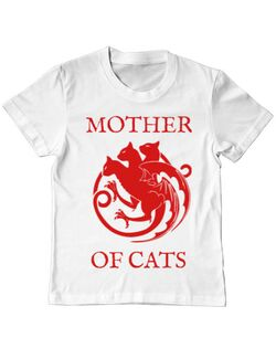 Tricou ADLER copil Mother of cats Alb
