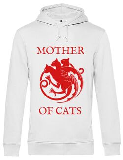 Hoodie barbat cu gluga Mother of cats Alb