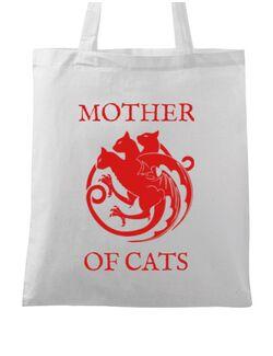 Sacosa din panza Mother of cats Alb