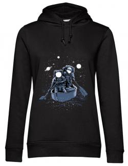 Hoodie dama cu gluga Across the galaxy Negru