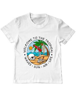 Tricou ADLER copil Welcome to the tropical Alb