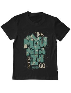 Tricou ADLER copil The mountain is calling, I must go! Negru