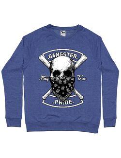 Bluza ADLER barbat Gangster skull Albastru melanj