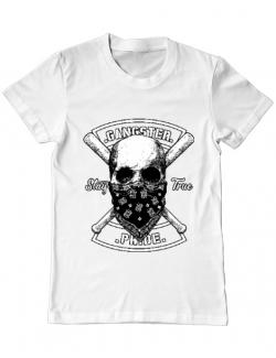 Tricou ADLER barbat Gangster skull Alb