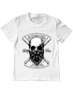 Tricou ADLER copil Gangster skull Alb